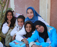 愉快的回教女孩在埃及 库存照片