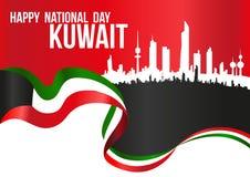 愉快的国庆节科威特-旗子&城市剪影地平线贺尔 免版税图库摄影