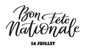 愉快的国庆节, 7月14日-发短信在法语,手写,印刷术书法 库存图片