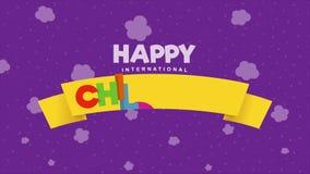 愉快的国际儿童节贺卡 在一条黄色丝带的色的信件与在火箭的儿童飞行 股票录像
