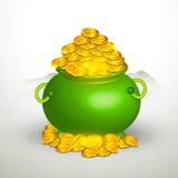 愉快的圣帕特里克的与绿色罐的天庆祝 免版税图库摄影