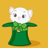 愉快的圣帕特里克的天庆祝的逗人喜爱的猫 免版税图库摄影