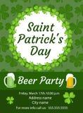 愉快的圣帕特里克` s天邀请,海报,飞行物 啤酒您的设计的党模板 也corel凹道例证向量 库存照片