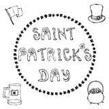 `愉快的圣帕特里克` s天` 明信片的,卡片,飞行物,横幅手拉的圣帕特里克` s天字法概述印刷术 库存图片