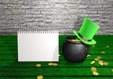 愉快的圣帕特里克& x27; s天妖精帽子、在绿色木葡萄酒背景的金壶硬币和笔记薄 3d例证 免版税库存图片