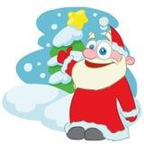 愉快的圣诞老人漫画人物 向量例证