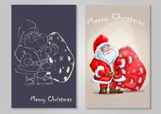 愉快的圣诞老人的动画片例证 库存图片