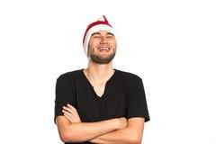 愉快的圣诞老人年轻人 免版税图库摄影