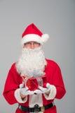 愉快的圣诞老人画象有一个巨大的大袋的 图库摄影