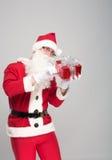 愉快的圣诞老人画象有一个巨大的大袋的 库存图片