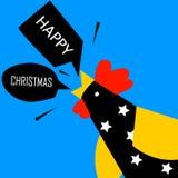 愉快的圣诞节与明亮的雄鸡的贺卡 平的设计 库存照片