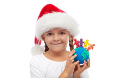 愉快的圣诞节人概念世界  免版税库存照片