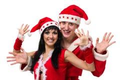 愉快的圣诞节夫妇,被隔绝在白色 免版税库存图片
