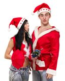 愉快的圣诞节夫妇,被隔绝在白色 库存图片