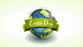愉快的地球日横幅动画卡片 向量例证