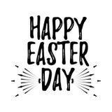 愉快的复活节天标签 与刷子的字体 复活节天徽章 Vect 免版税库存图片