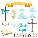 愉快的复活节套装饰对象 信念的宗教标志 库存照片