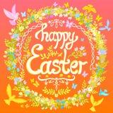 愉快的复活节明信片-盘旋与花和鸟 免版税库存照片