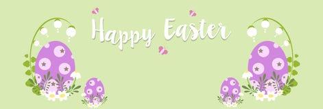 愉快的复活节横幅用鸡蛋和花在绿色背景-传染媒介例证 皇族释放例证