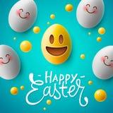 愉快的复活节海报,与逗人喜爱的微笑的emoji面孔,传染媒介的复活节彩蛋 库存图片