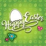 愉快的复活节绿色装饰背景 库存例证
