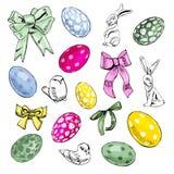 愉快的复活节装饰的手拉的elemens 与鸟、在白色背景和弓的构成隔绝的兔子、鸡蛋 皇族释放例证