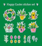 愉快的复活节贴纸设置了与郁金香,鸡蛋和greenary 免版税库存图片