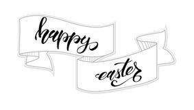 愉快的复活节贺卡模板 手写的书法和概略手拉的横幅 手图画乱画 欢乐 皇族释放例证