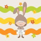 愉快的复活节贺卡,兔子 向量例证