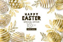 愉快的复活节销售横幅 传染媒介金黄3d鸡蛋和金leves 为假日飞行物,海报,党邀请设计 皇族释放例证