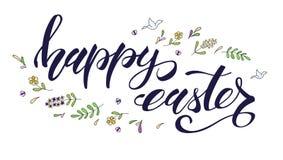 愉快的复活节问候,春天假日 手写的书法和概略手拉的颜色艺术 手图画乱画 向量例证