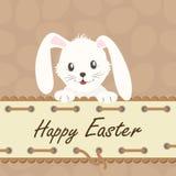 愉快的复活节 与白色复活节兔子的背景 向量例证