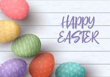 愉快的复活节 祝贺的复活节白色木背景 用不同的简单的纹理的复活节五颜六色的鸡蛋 库存照片
