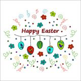 愉快的复活节乱画卡片 库存图片