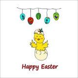 愉快的复活节乱画卡片 库存照片