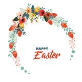愉快的复活节传染媒介葡萄酒假日花卉背景 免版税库存图片