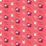 愉快的复活节兔子兔宝宝桃红色无缝的背景 免版税库存照片