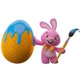愉快的复活节兔子用颜色鸡蛋 库存图片