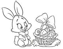 愉快的复活节兔子着色呼叫动画片例证 免版税库存图片
