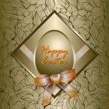 愉快的复活节卡片和金黄被构造的背景 免版税库存照片