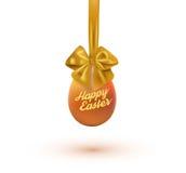 愉快的复活节卡片用鸡蛋和弓 也corel凹道例证向量 免版税图库摄影