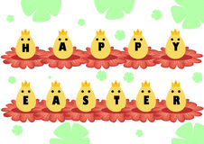 愉快的复活节天,在的哥特式黑体字黄色鸡蛋 在一朵黄色花的鸡蛋 免版税库存照片