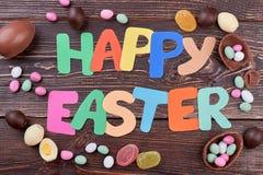愉快的复活节字法和甜点 免版税库存图片