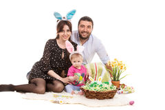 愉快的复活节家庭 免版税库存图片