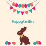 愉快的复活节巧克力兔宝宝 向量例证