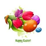 愉快的复活节数字式横幅 在白色背景和装饰的复活节彩蛋隔绝的春天郁金香 对海报,横幅 图库摄影
