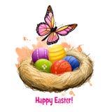 愉快的复活节数字式横幅 春天蝴蝶和装饰的复活节彩蛋在白色隔绝的巢 对海报,横幅 免版税库存图片