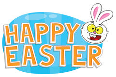 与复活节兔子和蓝色鸡蛋的愉快的复活节文本 免版税库存图片