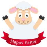 愉快的复活节羊羔或绵羊与丝带 免版税库存图片