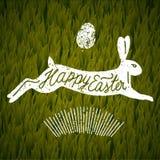 愉快的复活节跳跃的兔子ccalligraphy 背景草查出的白色